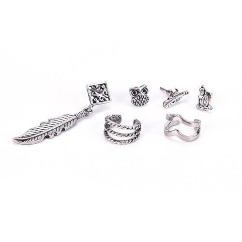 6X Ohrringe Set Frauen Mode Bohemian Retro Eule Feder Buddha Blatt Schmuck—AB X0