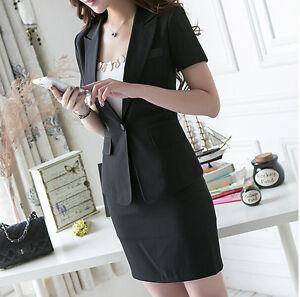 3000a970acb61 Costume ensemble femme noir veste manches courtes et jupe robe ...