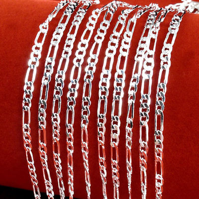 Fashion and cuted Silver Plated Chain Women Italy Figaro Necklace 16-30 inch 2mm
