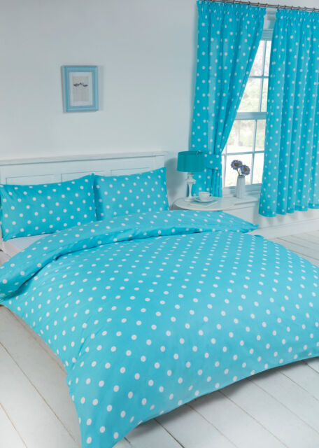 """POLKADOT DUCK EGG TURQUOISE 66/"""" x 72/"""" PENCIL PLEAT CURTAINS /& MATCHING TIE BACKS"""