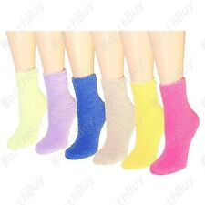 New 12 Pairs Womens Soft Cozy Fuzzy Winter Warm Solid Slipper Socks Size 9-11
