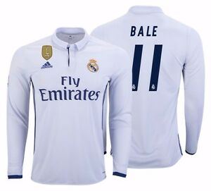 huge discount 4252e 937af Details about ADIDAS GARETH BALE REAL MADRID LONG SLEEVE HOME JERSEY  2016/17 FIFA PATCH.