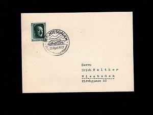 Germany Hitler Souvenir Sheet Single 1937 Berchtesgaden Birthday Cancel Card 7n