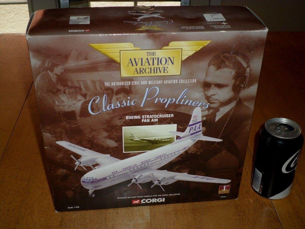 Boeing Stratocruiser PAN Am World Airways, Corgi Die Cast Modelo de juguete, escala 1 144