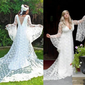 Details about Vintage Gothic Plus Size Wedding Dresses Long Sleeves Lace  A-line Bridal Gowns