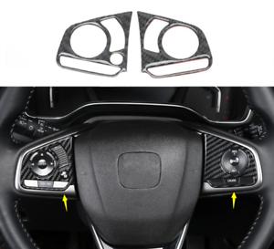 2Pcs Carbon Fiber Inner Steering Wheel Cover Trim For Honda Civic 10th 2016-2018