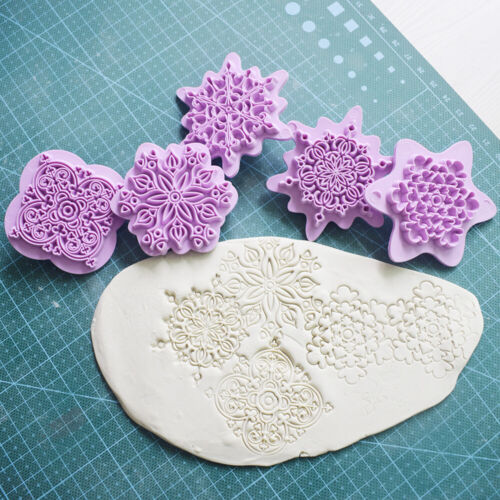 5pcs//set  Mandala Lace Embossing DIY Plastic Stamp Clay Sculpture Dotting Tools