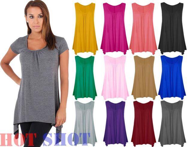 New Ladies High Split Side Long Top Women Midi Jersey Slit Tunic Sleeveless Vest