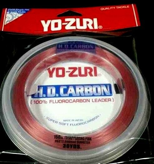 Yo-Zuri HD Carbon Flugoldcarbon Leader 150 lb 30 yds x 1 disappearing pink spool