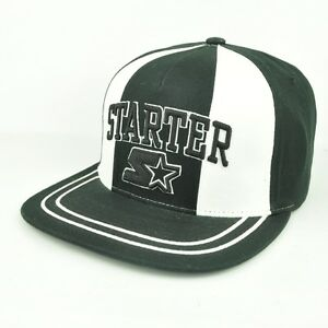 04f0a03e6 Details about Starter The Classics Yupoong Black White Adjustable Snapback  Hat Cap Flat Bill