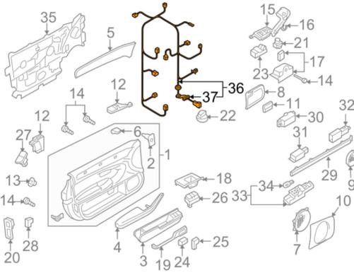 Audi A8 4e Front Left Door Wiring Harness 4e0971029al New