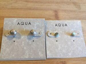 Aqua-Two-Pair-Small-Silver-Tone-Stud-Earrings-Flat-Disc-amp-Foil-Ball-556
