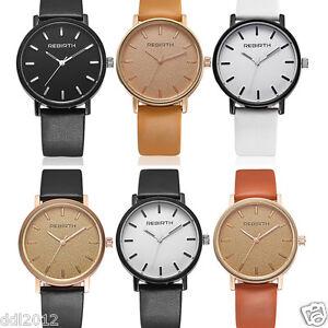 REBIRTH-Luxury-Men-039-s-Women-039-s-Leather-Band-Casual-Business-Quartz-Wrist-Watches