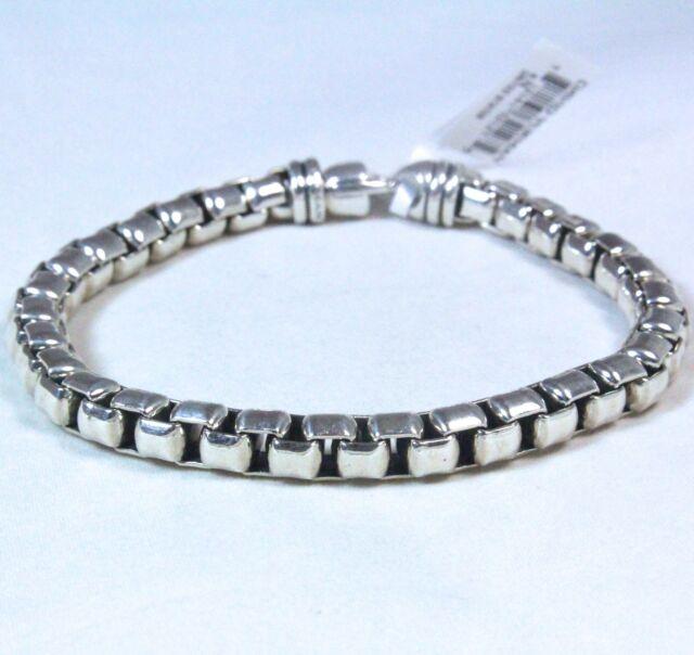 "New David Yurman Men's Extra Large Box Chain Bracelet Sterling Silver 8.75"" $495"