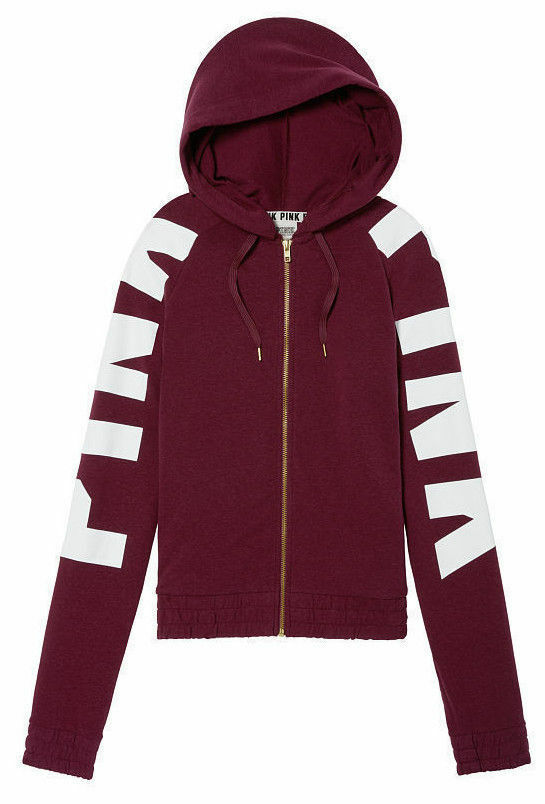 VICTORIA'S SECRET rose MAROON DEEP RUBY LOGO PERFECT FULL-ZIP sweat à capuche S