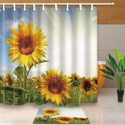 Sunflower flower Shower Curtain Bathroom Polyester Fabric /& 12hooks 71*71inches