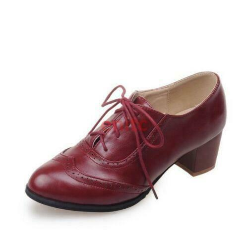 Details about  /Retro Womens Brogues Carved Lace Up Oxfords Cuban Heels Preppy Style Shoes #9/_7