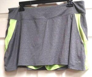 C9-By-Champion-Women-039-s-Athletic-Skort-Gray-amp-Neon-Green-Size-XL-Tennis-Golf