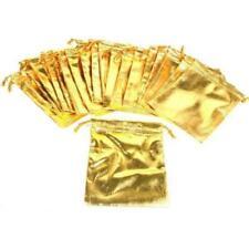 24 Gold Metallic Drawstring Jewelry Pouches 4 X 5