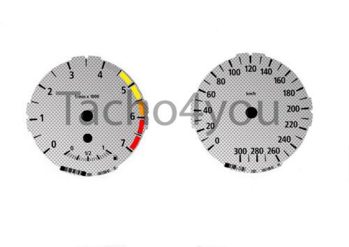 Tachoscheiben für BMW 1er E81 E82 E87 E88 Benziner 300 kmh km//h M1 Carbon Nr 101