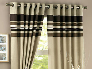 Chocolate-Brown-Stripes-Panel-Lined-Ready-Made-Eyelet-Pair-Curtains-Beige-New