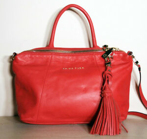 Details About Trina Turk Red Pink Leather Tassel Handbag New With Tags