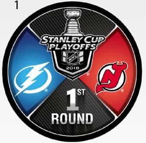 best website 48751 62c81 Details about TAMPA BAY LIGHTNING NEW JERSEY DEVILS 2018 PLAYOFF PUCK 1ST  ROUND STANLEY CUP