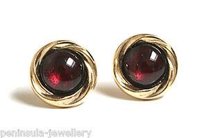 9ct-Gold-Garnet-Earrings-Studs-Gift-Boxed-Made-in-UK-Birthday-Gift