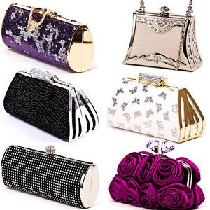 Sales promotion enjoy clearance price wholesale price Details about Clutch Bag Evening Handbag Black White Purple Gold Silver  Pink Grey Diamante Bag