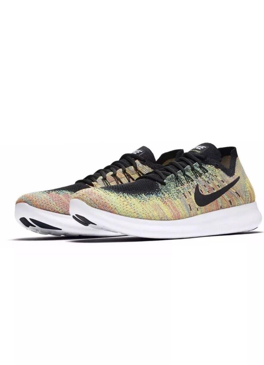 Nike Free Free Free RN Flyknit 2017 10.5 Mens Running shoes Black Multi-color 880843 005 b64a5f