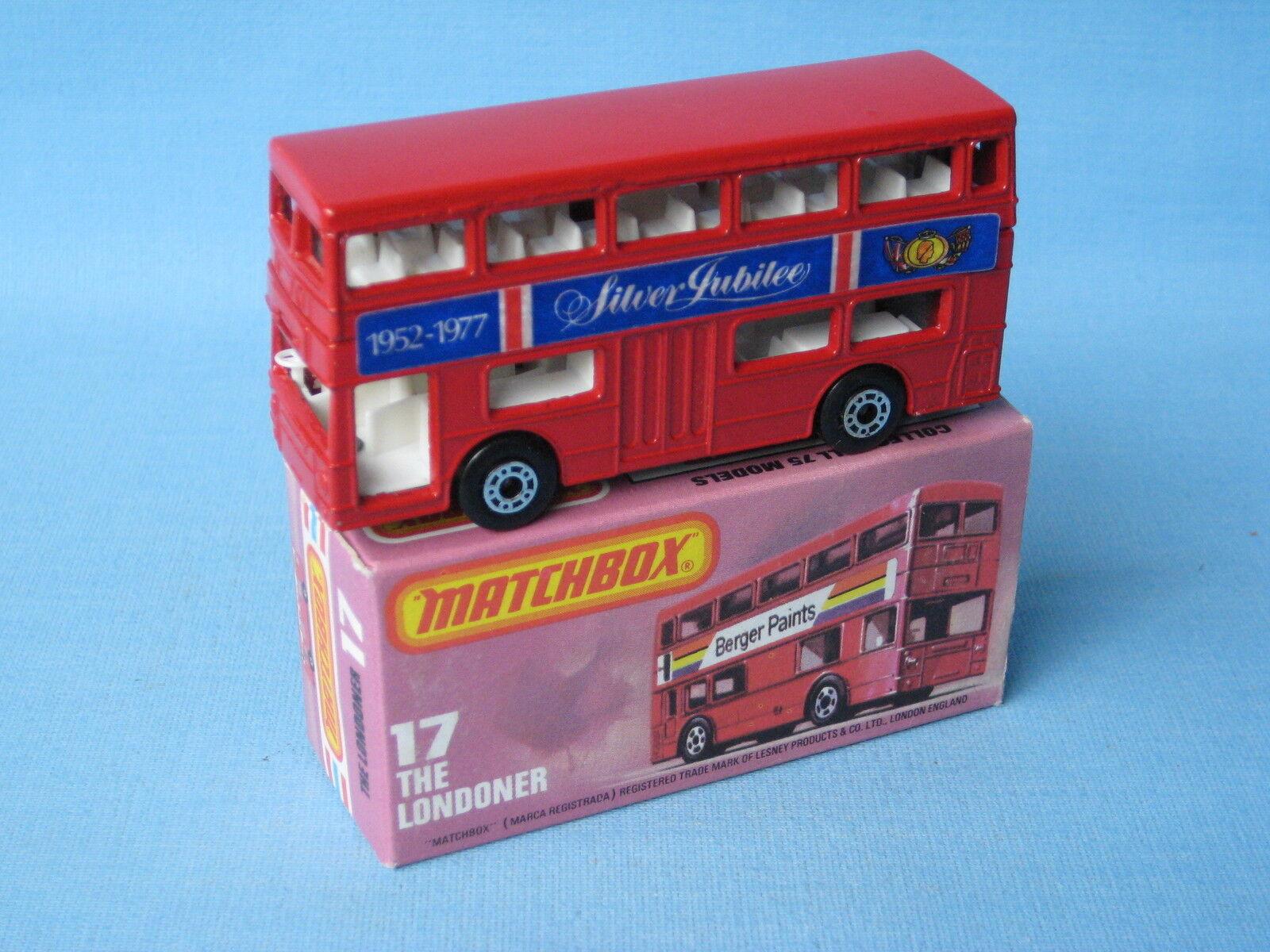 opciones a bajo precio Lesney Matchbox londinense Bus cuerpo de Color rojo plata Jubileo Jubileo Jubileo Raro Y En Caja MB-17  Obtén lo ultimo