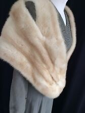 1950s 60s Genuine Vintage  Blonde Cream  Real Mink Fur Stole, Wrap BOMBSHELL