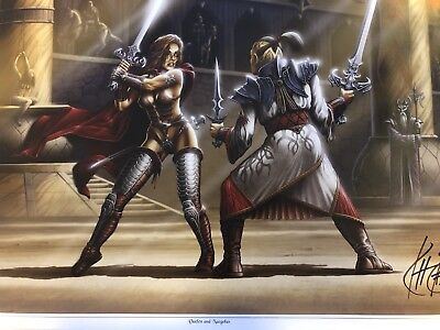 KIT RAE FANTASY ART SIGNED VAELEN AND NAEGOLUS SWORD FIGHT ...