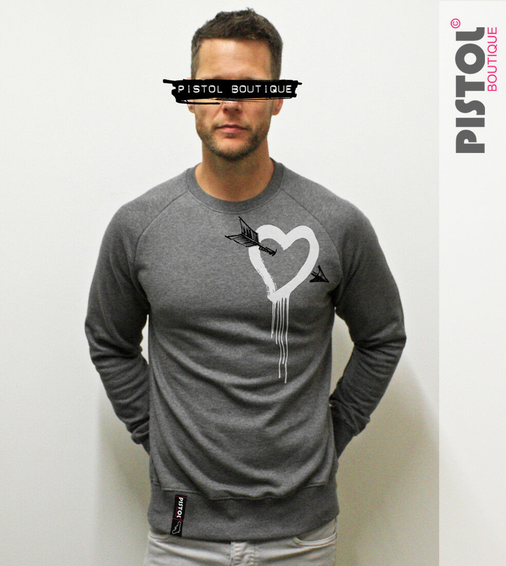 Pistol Boutique mens Dark Grau CHEST ARROW PAINT HEART fashion Raglan sweatshirt