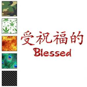 Size #2688 Serenity Chinese Symbols Decal Sticker Choose Color