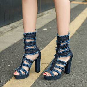 Women-High-Block-Heels-Cut-Out-Denim-Sandals-Mid-Calf-Boots-Peep-Toe-Ankle-Shoes