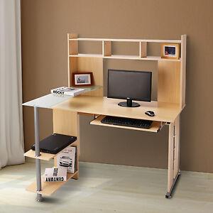HOMCOM Computer Desk Multi-Level Storage Shelves Study Table Workstation Office