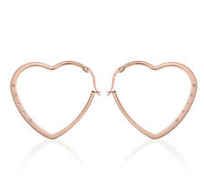 """Heart Hoop CZ Earrings 1"""" in ION Plated Rose Gold Stainless Steel"""