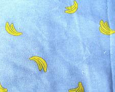 Fat quarter blue kawaii cute banana print linen medium weight cotton fabric