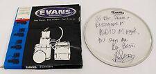 Signed Evans Drum Head by AJ Pero of Twisted Sister Drummer Memorabilia