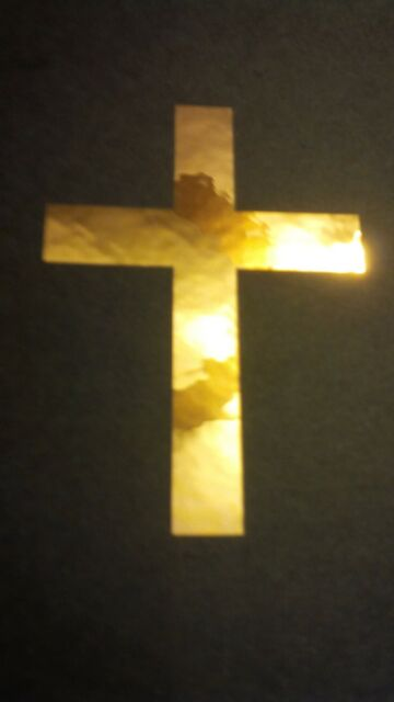 "Christian Cross #3 ~ In Gold Vinyl Window Laptop Bible Decal Bumper Sticker 8"""