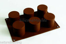 6 cell CYLINDER TUBE Mini Wedding Cake Silicone Bakeware Mould Mold Chocolate