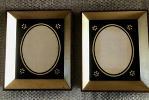 """Mid Century Picture Frames Set Painted Glass Mahogany Wood 7x6"""" Black & Gold Pr"""