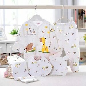 5pc Cotton Newborn Baby Clothes Sets 0 3 Month Boys Girls Sleepwear