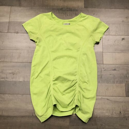 Athleta Sleeve Top Ruched Green Neon Fastest Medium T Shirt Tee Short M Track rWxwfq8rCB