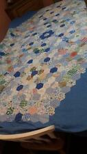 VINTAGE 1930s FABRICS COTTON PATCHWORK HEXAGON QUILT TOP BEDSPREAD 94x82