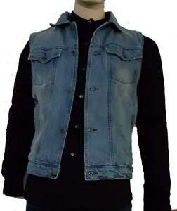 NEW-FADED-DENIM-SLEEVELESS-MOTORCYCLE-JACKET-VEST