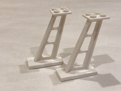 2 x Lego White Support 2 x 4 x 5 Stanchion Inclined 5mm Wide Posts NEW