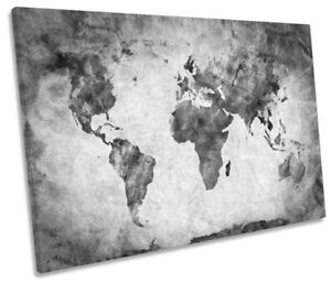 World map black and white picture single canvas wall art print ebay image is loading world map black and white picture single canvas gumiabroncs Choice Image