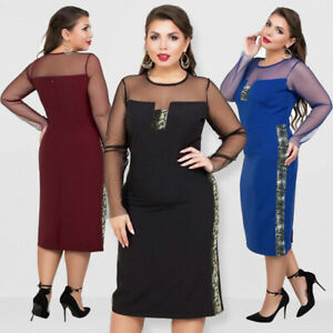 Womens-Plus-Size-Evening-Cocktail-Dress-Elegant-Fat-Midi-Skirt-Long-Sleeve-Mesh